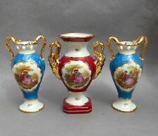 3 Limoges Gilded Porcelain Vases with Fragonard Lovers Scenes ~ 18cm / French