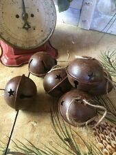 "Set/6 Primitive Rusty Tin Jingle Bells Christmas Star 2 1/2 60mm 2.5"" Craft"