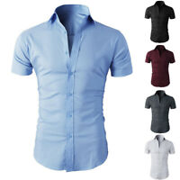 Men's Short Sleeve Casual Shirts Formal Slim Fit Dress Shirt Top Summer Plain #E