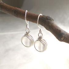 Bergkristall Ohrringe 925 Silber Ohrhänger mattiert weiß Sterlingsilber g832