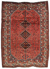 Vintage Tribal Oriental Qashqai Rug, 7'x9', Red/Ivory, Hand-Knotted Wool Pile