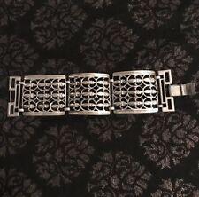 Vintage Fleur De Lis Bracelet Silver Tone Link Hinge Bracelet Statement