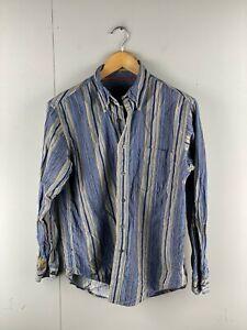 St Johns Bay Mens Vintage Long Sleeve Soft Corduroy Shirt Size Small Blue