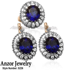 Russian Style Earrings Created Sapphire Genuine Diamond Jewelry Set in 14K #S226
