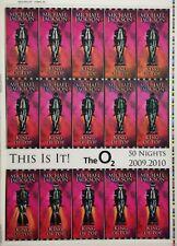 This Is It! Uncut 2009 Lenticular Concert Ticket Sheet Form 8,8A Michael Jackson
