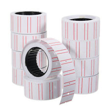 10 Rolls Price Label Paper Tag Sticker Mx-5500 Labeller Gun White Red LineFbdury