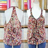BCBG top blouse vest tank floral print racer open back frilled S UK 8 10 US 4 6