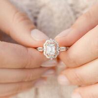 Fashion Charming 18K Rose Gold Filled Morganite Ring Engagement Women Jewelry