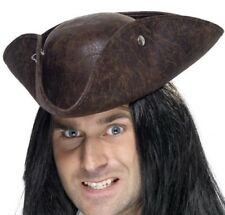 Mens Unisex Fancy Dress Pirate Tricorn Hat Leather Look hat Brown New by Smiffys