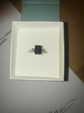 Emerald Cut Blue Sapphire And Diamond Ring Right Hand Ring White 14K Gold Fine