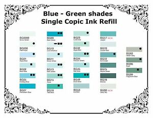 Copic Various Refillable Inks - Blue Green - Shades For  All Copic Markers