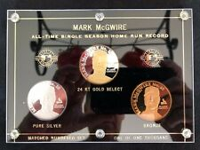 Mark McGwire 3 Coin Set (2) .999 1 Troy Oz. Silver Coins '98 Home Run Record NEW
