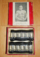 HARRY BROOM SPRING GRIP WOODEN DUMBELLS ANTIQUE RARE BOXED C. 1920's   (723)