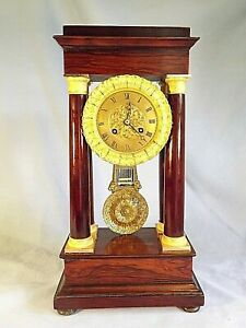 """19c Rosewood """"Portico"""" Clock C1880."""