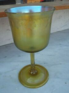 LCT Signed Louis Comfort Tiffany Favrille Etched Glass Vase Goblet