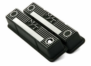 Holley 241-83 Small Block Chevy M/T Retro Finned Aluminum BLACK Valve Cover Set