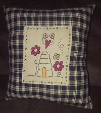 Country Primitive Honey Bee Pillow Home Decor Sofa Cushion Spring Flower