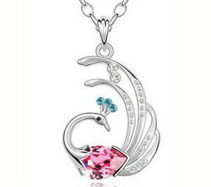 Hot Sale Women Jewelry Pink Crystal Zircon Peacock Pendant Chain Necklace