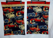 50's Retro Pin Up Girls Rockabilly VTG Cars Pillow Cases OOAK Handmade Pr/Lot 2