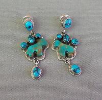 Southwestern Sterling Silver Turquoise Horse Drop Dangle Pierced Post Earrings