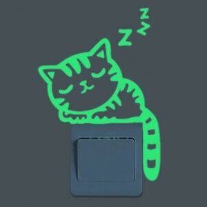 Cartoon Luminous Switch Sticker Glow In The Dark Cat Wall Stickers Decoration