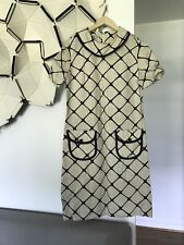 Vintage Ladies Dress Mod Black And White 1970S Nelly Don Size Large
