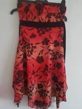 Jane Norman Strapless Dress - Red/Black Print - UK 12