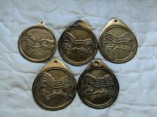 New listing Vintage Brass Chinese Medallions Horses 1 - 5