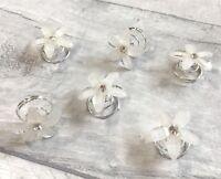 NEW Silver Crystal White Flower Glitter Hair Coils Swirls Spirals Twists Pins
