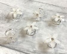 Nuevo Plata Cristal Blanco Flor Brillo Cabello Bobinas Remolinos espirales giros Pins