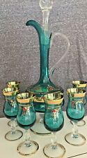 New listing Imported Beautiful Teal and Gold Cordial Set - Decanter with 6 Glasses