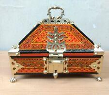 Antique Kerala Treasure Jewelry Box Wooden Box Mural Painting Brass Work Trinket