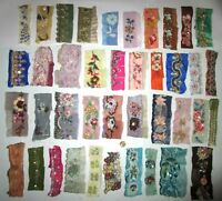 VERY RARE LOT Antique Vintage Sari TRIM LACE RIBBON 25 Pcs BEADS SEQUINS DOLL b1