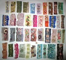 VERY RARE LOT Antique Vintage Sari TRIM LACE RIBBON 30 Pcs BEADS SEQUINS DOLL b1