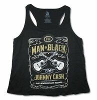 Johnny Cash Guitars Crest Womens Black Plus Size Tank Top Shirt New Official