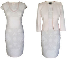 MOTHER OF THE BRIDE GROOM OUTFIT JACKET DRESS 2 PIECE SIZE 10 PALE BABY PINK
