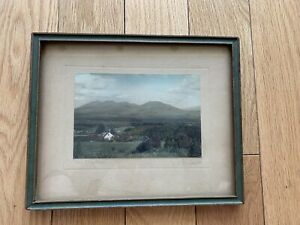 Antique Arts Crafts Picture Signed Frame Green Wood Glass Free Shipping