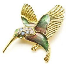 Vintage SFI Green Brooch Pin Bird Hummingbird Enamel And Rhinestones