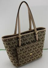 NEW AUTHENTIC MICHAEL KORS BROWN JET SET ITEM MD PKT MF TOTE SIGNATURE HANDBAG