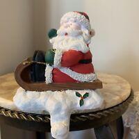 Christmas Santa Claus Stocking Hanger Holder Heavy Resin