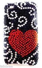 iPod Touch 4 Bling Diamante Red Heart and Black Case