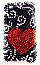 IPod Touch 4 bling strass cœur rouge et boîtier noir