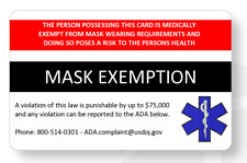 Mask exemption ID card medically exempt proof card can be customized