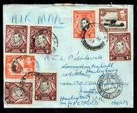 British KUT 1953 Airmail Multistamp Redirected Cover to UK WS18858