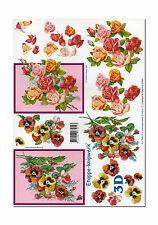 3D Bogen Motivbogen Etappenbogen 3D Bild  Rosen & Stiefmütterchen (192)