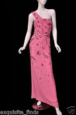 $37,425 NEW VERSACE ONE SHOULDER PINK LONG DRESS GOWN WITH CRYSTALS 42