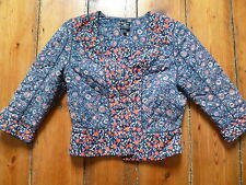 KATE MOSS BLUE/RED FLORAL FITTED JACKET 10-12 TOPSHOP
