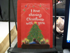 I LOVE SHARING CHRISTMAS WITH YOU CARD NEW TREE LIGHTS RED ORNAMENTS DECORATIONS