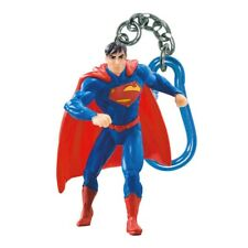 Superman Figure Plastic Keychain Blue