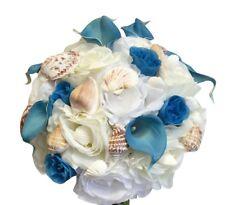 Keepsake Beach Wedding Bouquet-artificial flower seashell malibu turquoise